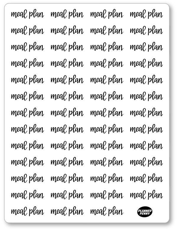 B/W Lettering Meal Plan Planner Stickers Pinterest Planner