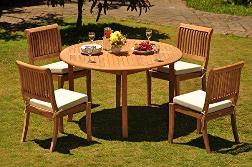 TeakStation 4 Seater 5 Pc GradeA Teak Wood Dining Set 52 Round Table