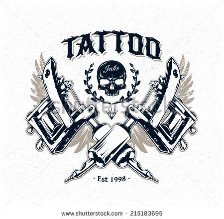 Cool Authentic Tattoo Studio Poster Template With Tattoo Machines