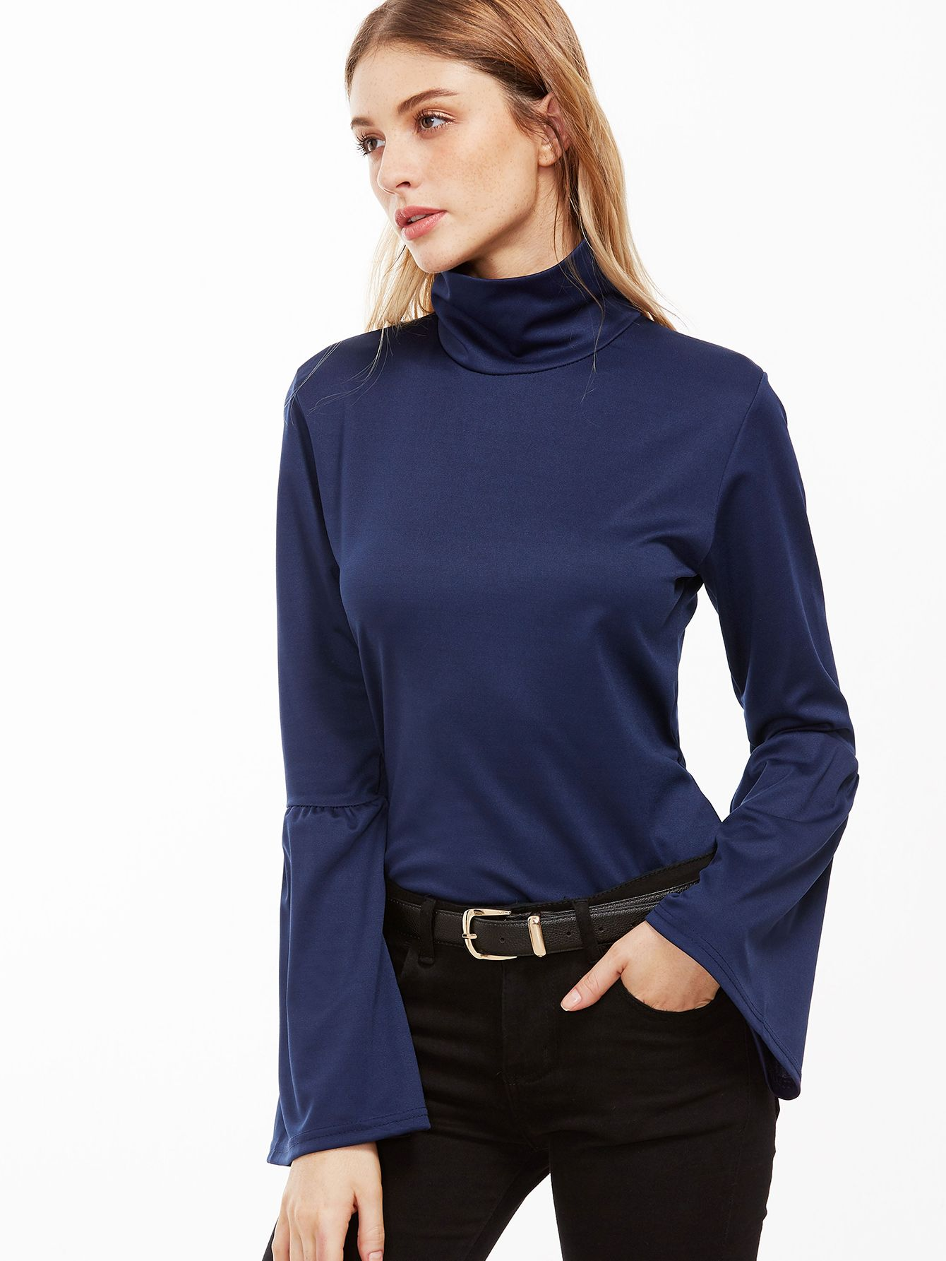 Navy High Neck Bell Sleeve Zipper Back T-shirt — 0.00 € ---------color: Navy size: M