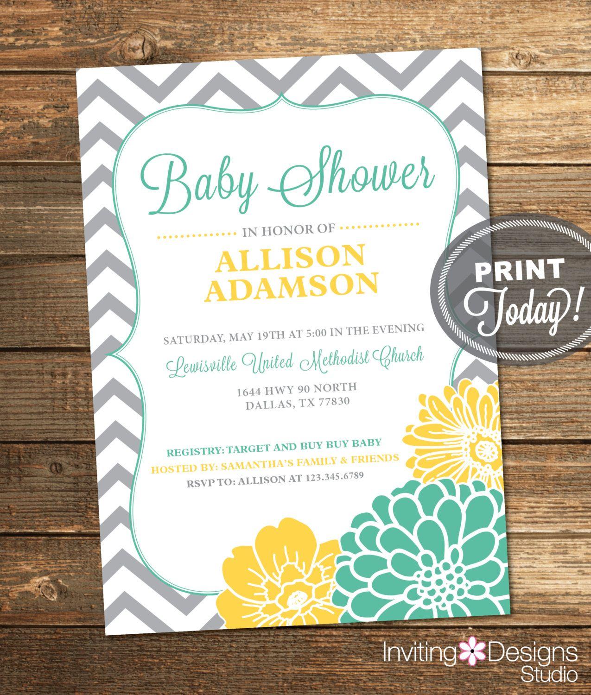 Neutral Baby Shower Invitation, Mint Green, Yellow, Gray, Girl, Boy ...