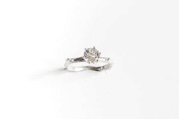 White topaz sterling silver twig ring branch engagement by Oore