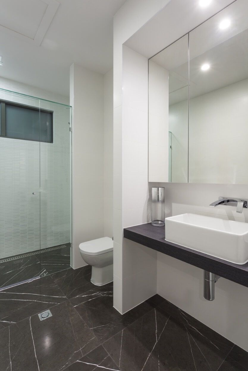 Rectangle White Sink On Dark Floating Vanity With Chrome Fixtures ...