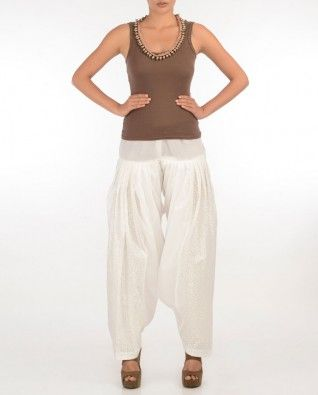 #Exclusivelyin, #IndianEthnicWear, #IndianWear, #Fashion, White Patiala with Sequins