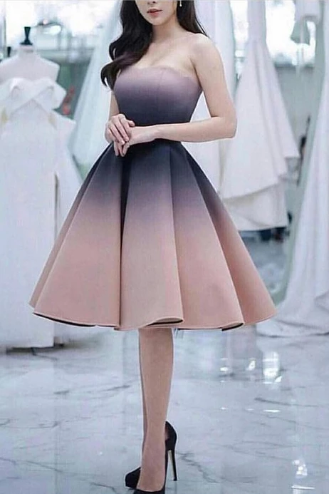 Knee Length Strapless Ombre Homecoming Dresses, A Line Unique Short Prom Dress N1998 – Simibridaldress