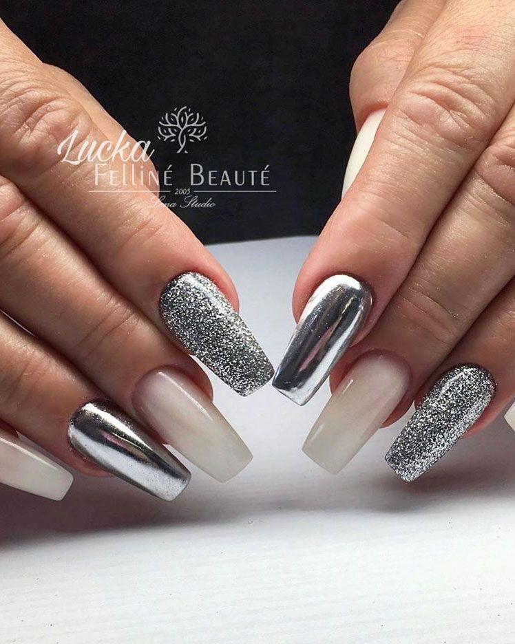 The Best Chrome Nail Ideas to Copy #chromenails Cute chrome mirror nails silver with glitter and nude nails #chromenails