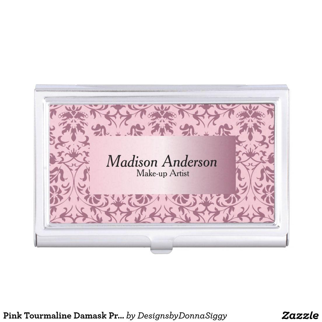 Damask print business cards arts arts pink tourmaline damask print personalize business card holder reheart Choice Image