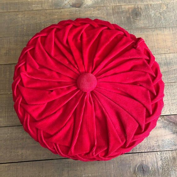 Vintage Red Corduroy Round Pillow, Red Pillow, Vintage Smocked Pillow, Round Pillow, Vintage Decor,