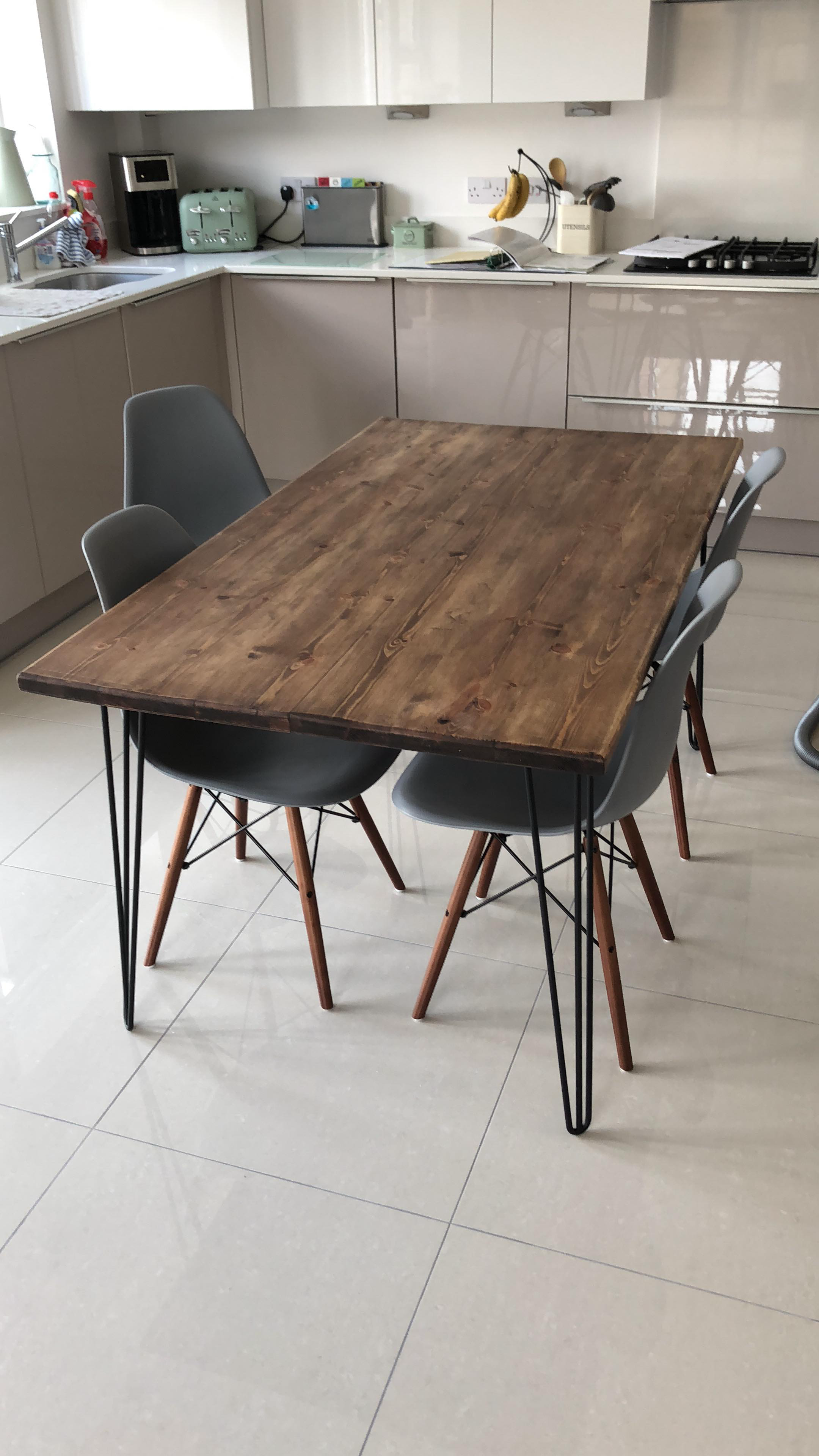 Rustic Industrial Hairpin Dining Table Finished In Walnut