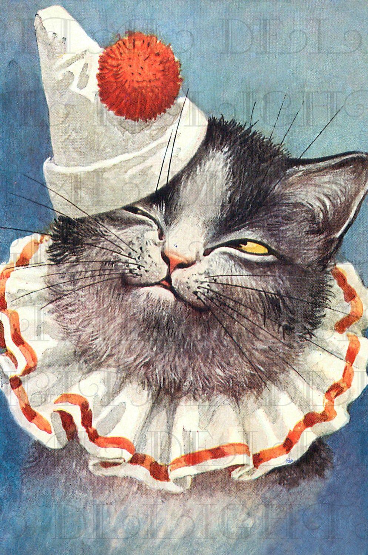 Cat Clown Vintage Kitty Digital Illustration Digital Cat Etsy In 2020 Cats Illustration Cat Illustration Vintage Cat