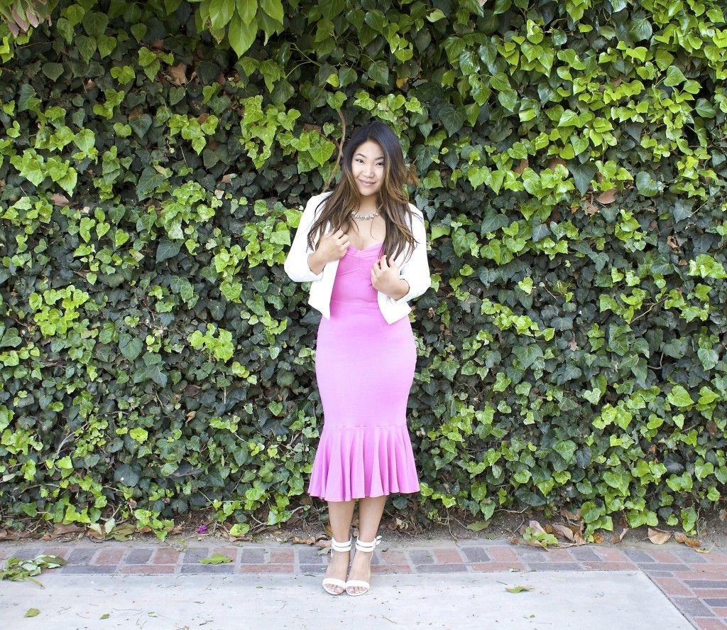 Pink Mermaid Midi Dress Fashion