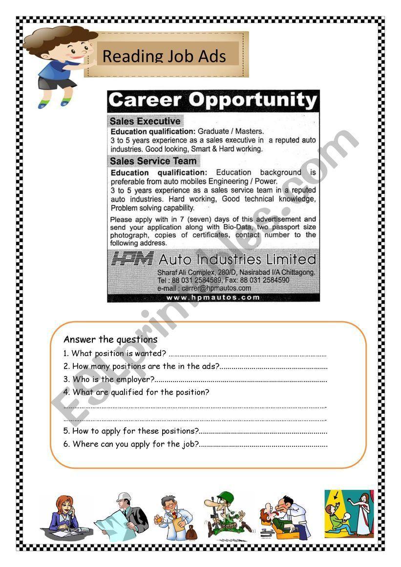 Job Advertisement Esl Worksheet By Noonamo Help Wanted Ads Reading Jobs Reading Help [ 1161 x 821 Pixel ]