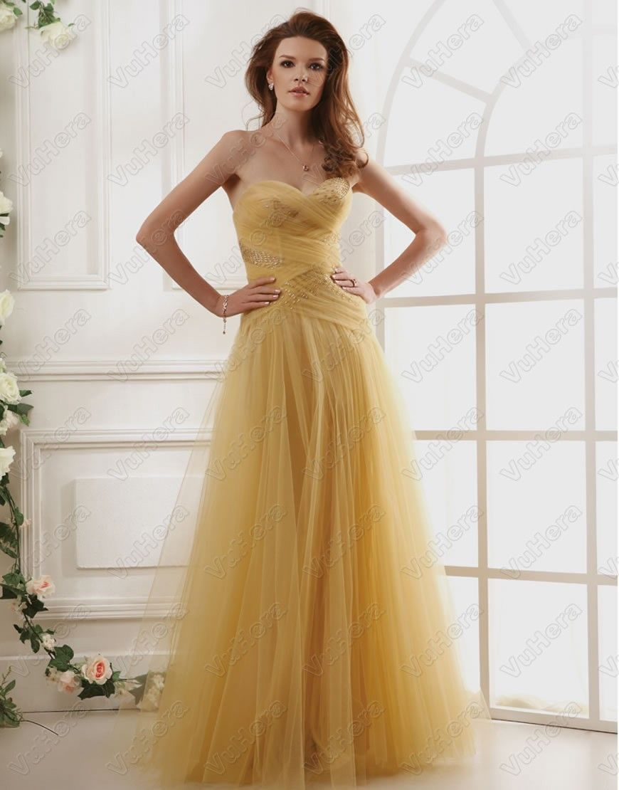 Strapless bodicelong yellow prom dress vuhera yellow dresses