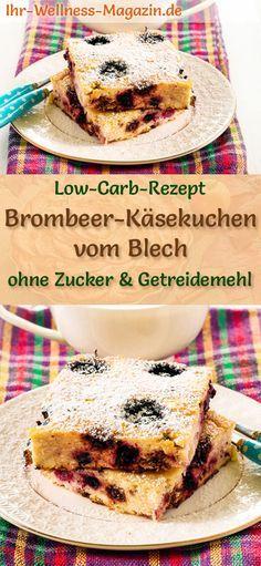 Low Carb Brombeer-Käsekuchen vom Blech - Quarkkuchen-Rezept ohne Zucker #brombeerenrezepte