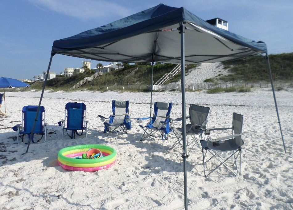 Beach canopy tents provide beach sun shade for a larger group of friends and family. & Beach canopy tents provide beach sun shade for a larger group of ...
