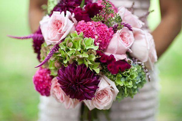 Bouquet de mariee rose pale poudre clair fushia dahlia - Bouquet mariee rose ...