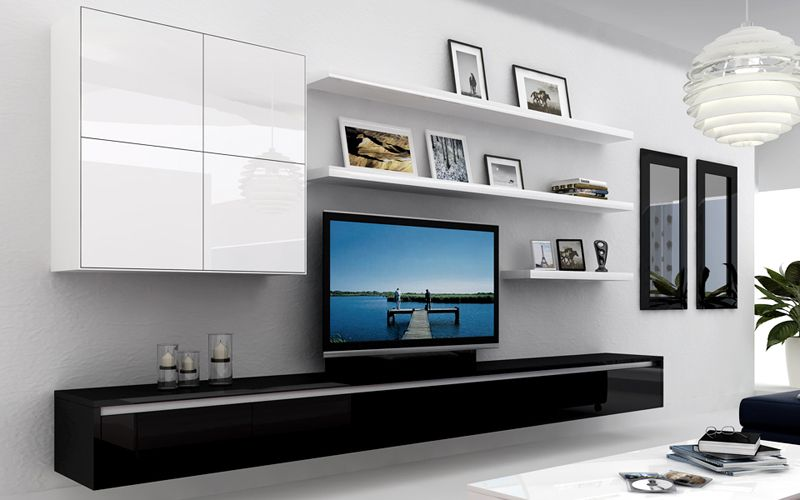Living Room Furniture Tv Units contemporary lacquered tv wall units with white theme in bright