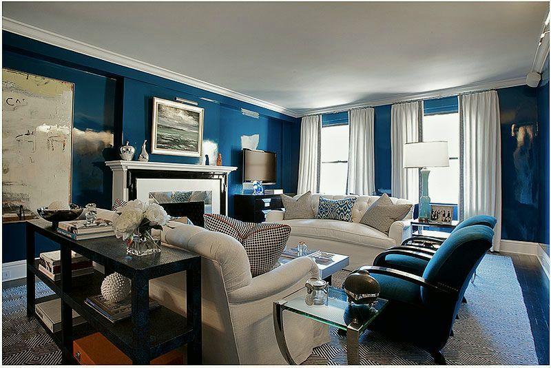 Blue And White Hollywood Regency Bash Blue Living Room Blue Rooms Royal Blue Living Room