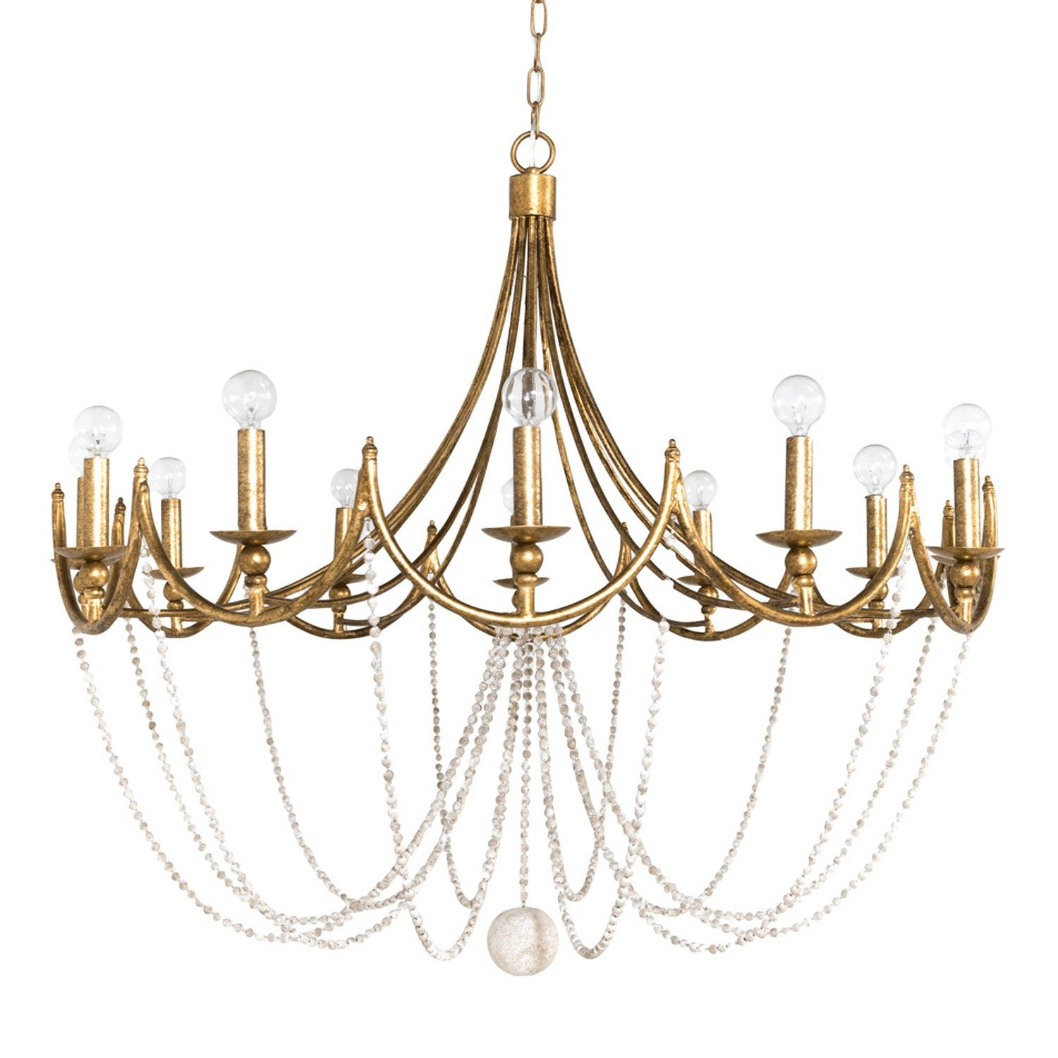Sandra Chandelier by Gabby Materials Metal Wooden Beads Finish