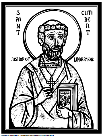 Coloring Page For Kids About Lindisfarne Saint Cuthbert Aidfrith