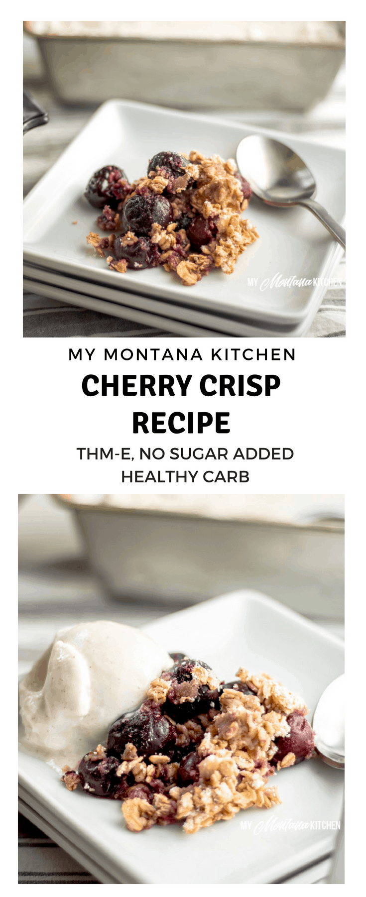 Sweet cherries topped with an easy oatmeal crust. This Cherry Crisp Recipe is easy to make and is a great way to use frozen cherries for a delicious Trim Healthy Mama E Dessert.