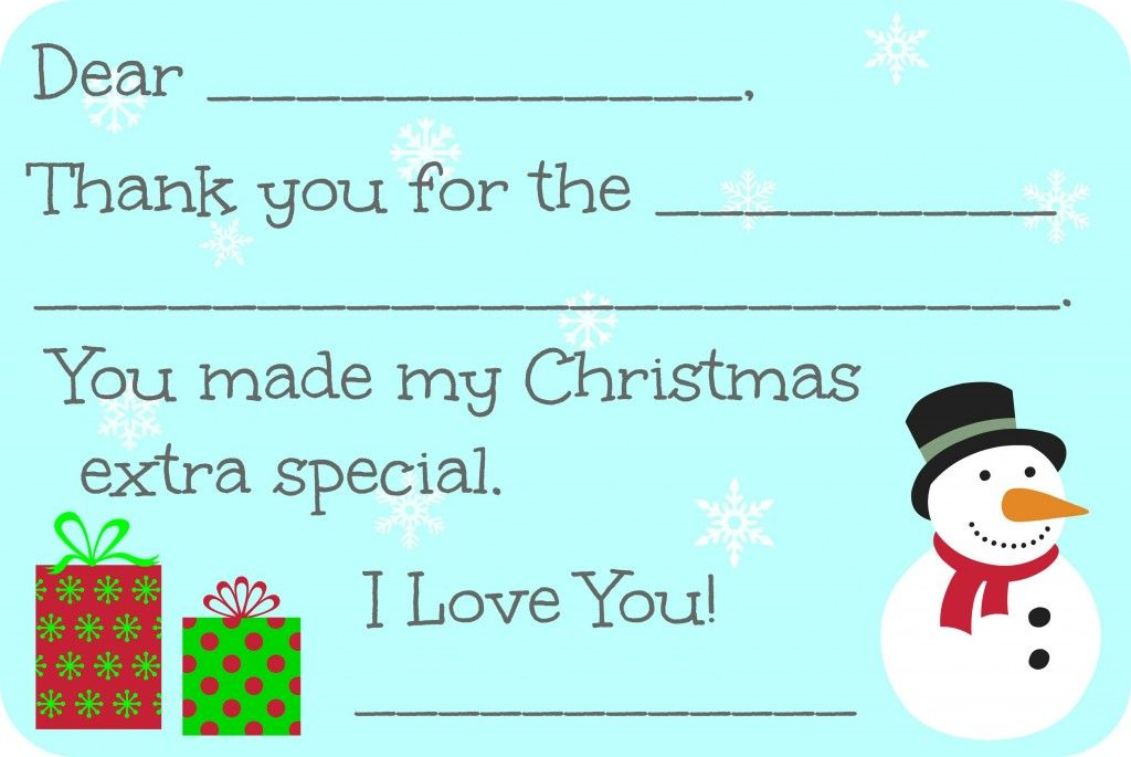 Fill In The Blank Christmas Thank You Cards Free Printable Christmas Thank You Free Thank You Cards Thank You Card Template