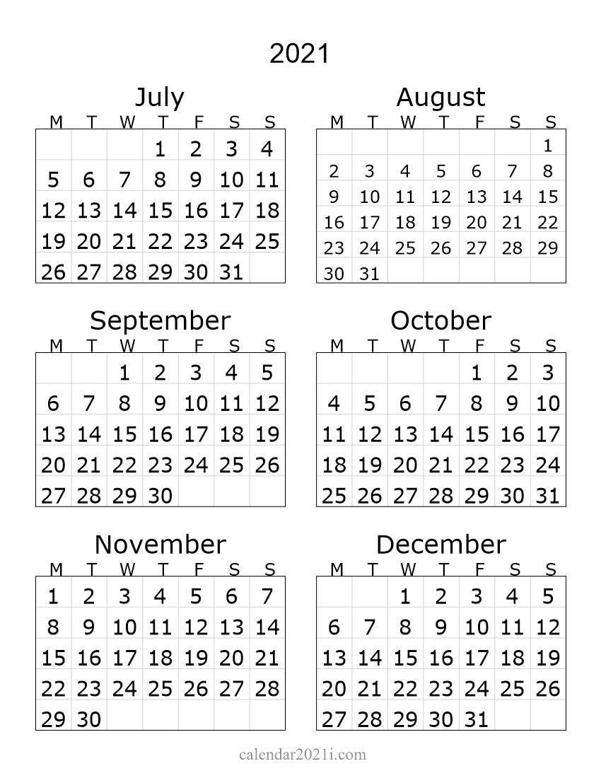 2021 2nd Half Calendar In 2021 Monthly Calendar Template Printable Calendar Calendar Printables