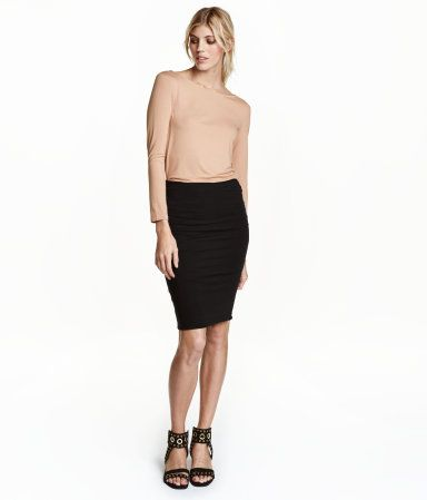 Black. Knee-length skirt in double-layer jersey with elasticized waistband.