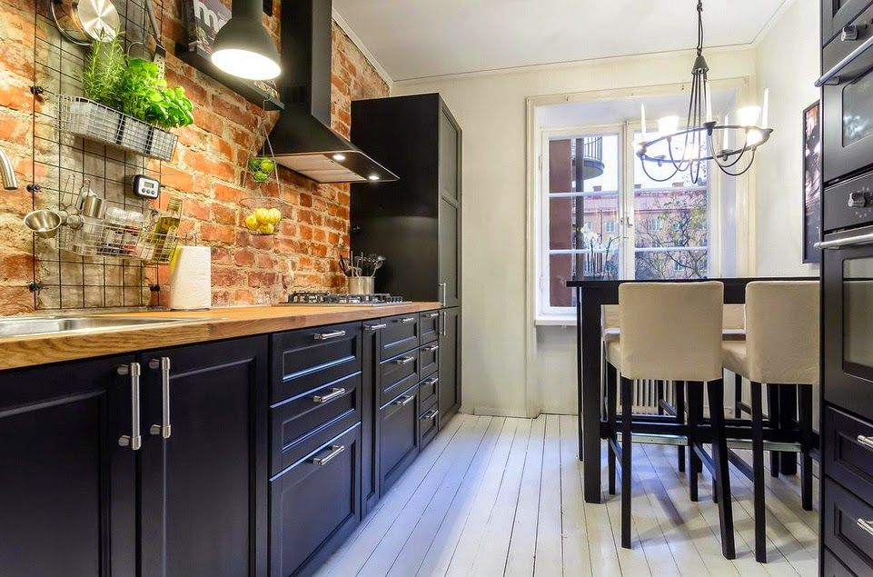 Wpis Kolorowe Inspiracje W Kulinarnej Przestrzeni Czyli Kuchnia Z Kitchen Interior Brick Kitchen Kitchen