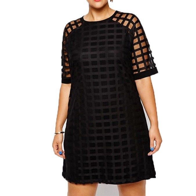 ea8f6fc5913 Women Plus Size Checkered Pattern O Neck Sheer Mesh Shirt Dress Shift Dress  OL  kissmilk  Casual