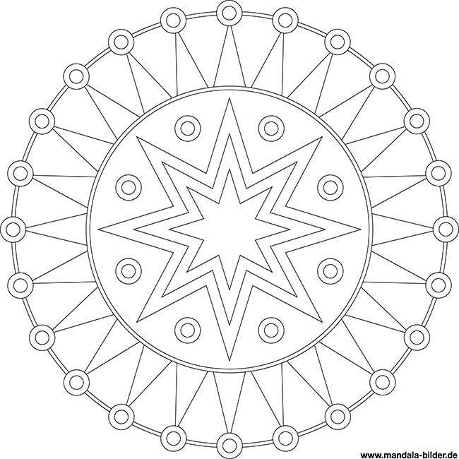 Mandala Modern Mit Sternen Und Zacken Mandala Ausmalen Ausmalbilder Mandala Vorlagen