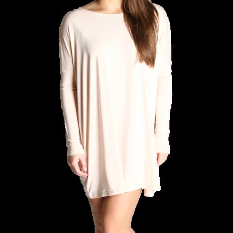 Cream Piko Tunic Long Sleeve Dress - Piko Shirts  - 1