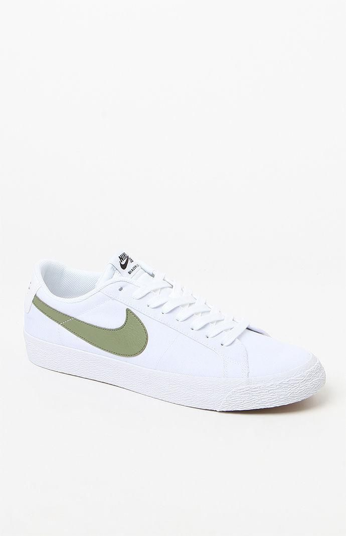 0cf3943dc11bc2 New Balance Nike Sb Air Zoom Blazer Low Canvas White   Green Shoes ...