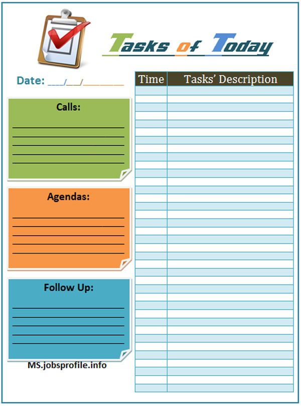 Daily Task List Template  Day Plan