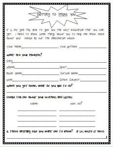 surveys to get to know someone getting to know you student survey for the beginning of 1032