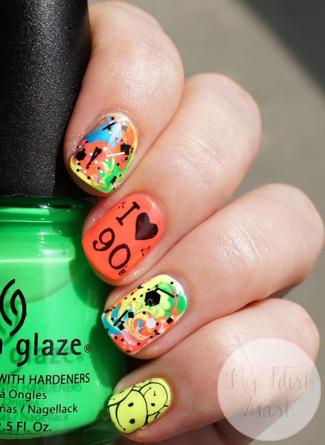 90s Nail Art 3 Jpg 640 876 90s Nails Neon Nails Nails