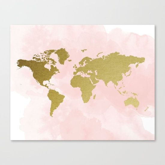 Blush pink gold world map travel nursery gold world map blush pink gold world map travel nursery gold world map watercolour globe gumiabroncs Gallery