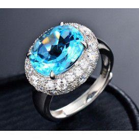 Statement Natural Blue Topaz Adjustable Ring