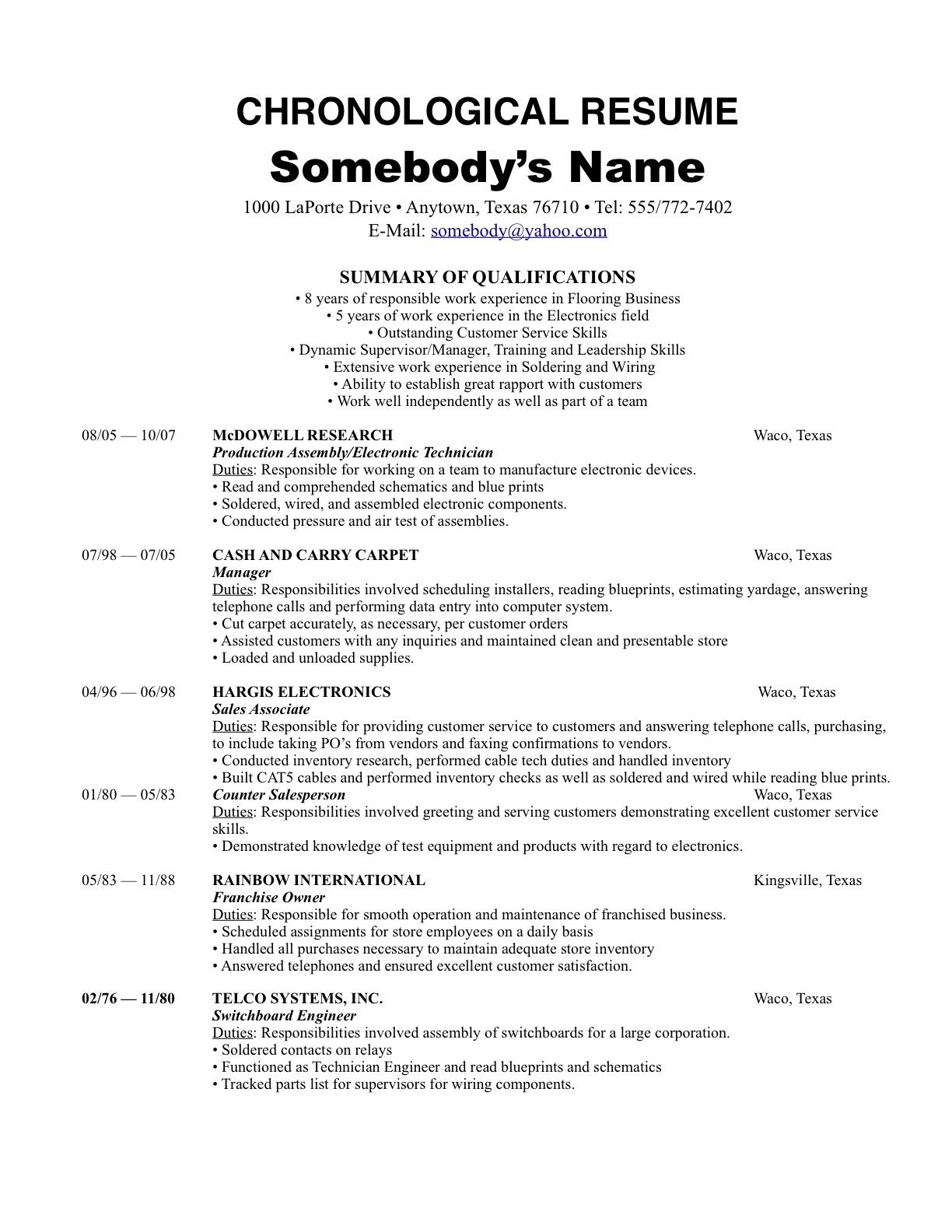 Chronological Style Resume Under Fontanacountryinn Com