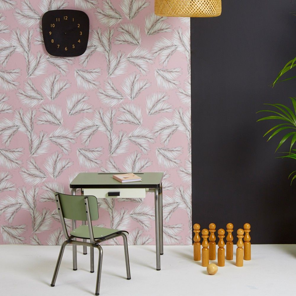 papier peint palme rose poudre les gambettes wallpaper. Black Bedroom Furniture Sets. Home Design Ideas