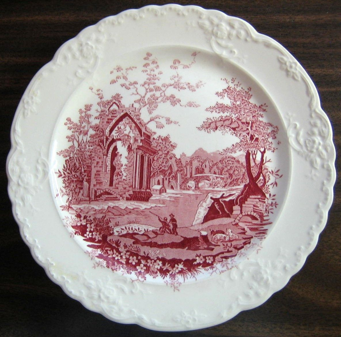 Decorative Dishes - Red Pink Toile Exotic Castle Woman Sheep Raised Roses Edge USA Plate Vintage, $29.99 (http://www.decorativedishes.net/red-pink-toile-exotic-castle-woman-sheep-raised-roses-edge-usa-plate-vintage/)