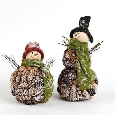 Снеговик из шишек. Поделки из природного материала ...