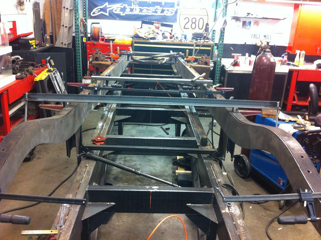 Boxing in a classic truck chassis on the frame jig | chassis table ...