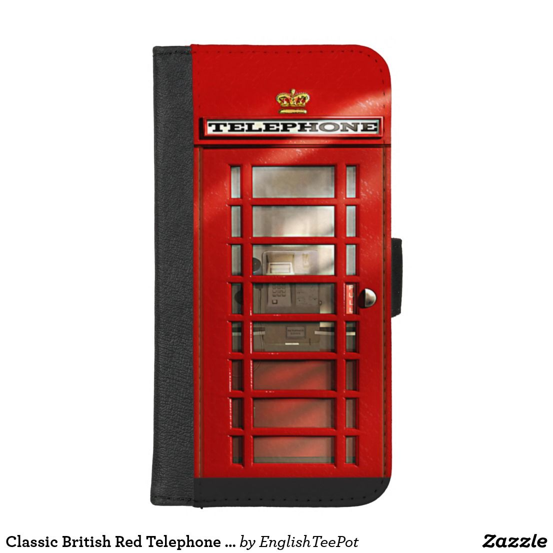Classic british red telephone box iphone wallet case