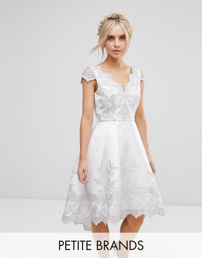 Chi Chi London Petite Premium Lace Cap Sleeve Midi Dress ...