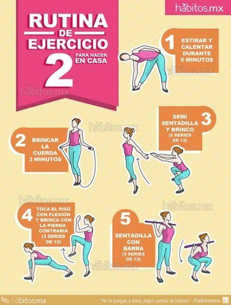 Rutina De Ejercicio 2 Para Hacer En Casa Cardio Workout Workout Training Programs Gym Workouts