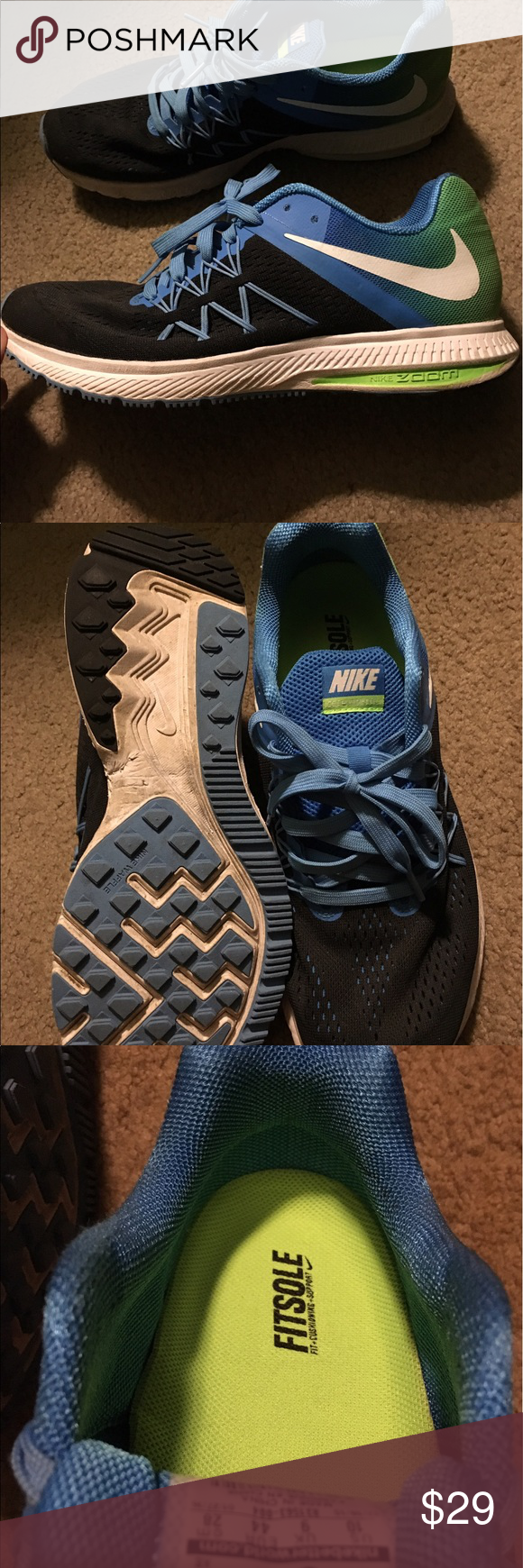 Men's shoes Men's Nike my son used them just once to small for him perfect condition pretty colors black blue and lime very light and comfortable Nike Shoes Athletic Shoes