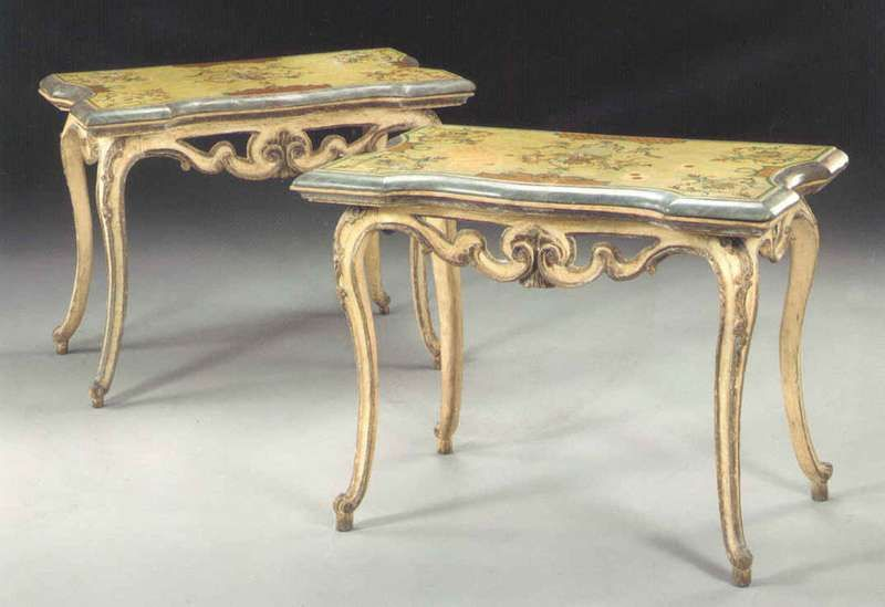Pair Of 18th Century Italian Rococo Painted Console Tables With Scagliola Tops Console Table Console Table