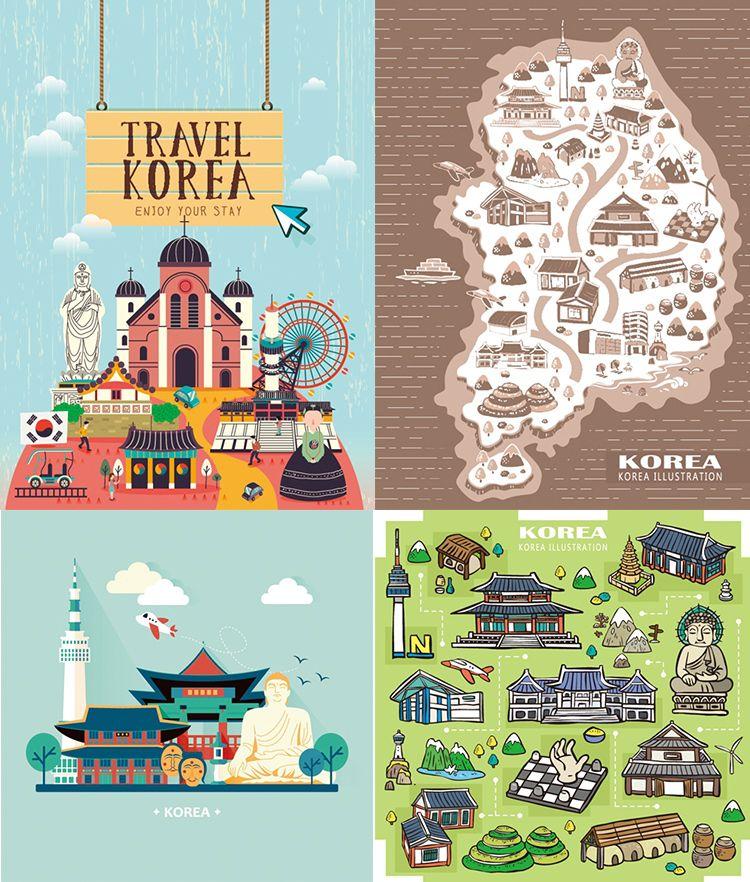 扁平化韩国旅行地标建筑美食手绘地图插画eps矢量设计素材h107 淘宝网