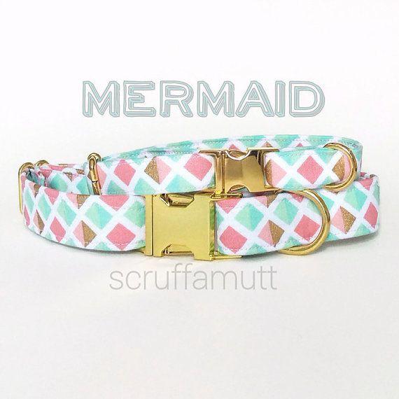 Mermaid Dog Collar / Diamond Dog Collar / Geometric Dog Collar